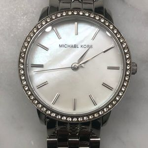 Michael Kors silver & mother of Pearl watch